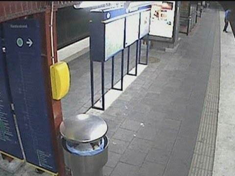 Shocking CCTV: Man robbed on subway tracks then hit by train in Sweden