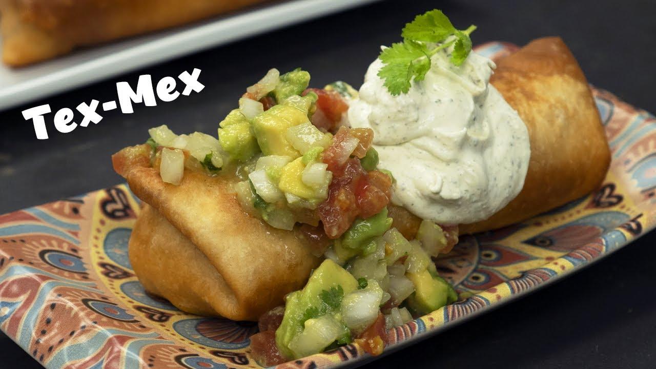 Download CHIMICHANGAS rellenas de TINGA de pollo - RECETA TEX-MEX