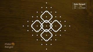 Simple and Easy Sikku kolam with 11x1 dots   Melikala Muggulu with 11 dots