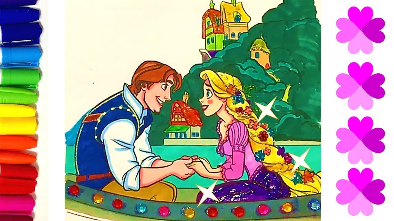 Glitter Coloring Page Princess Rapunzel Boat Scene L Tangled Youtube