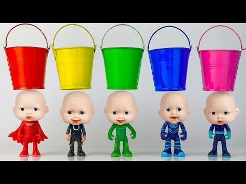 Learn Colors With Pj Masks Wrong Baby Head Colorful Finger Paints Painting Toys
