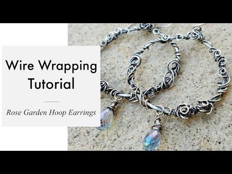Wire Wrapping Tutorial - Rose Garden Hoop Earrings - YouTube
