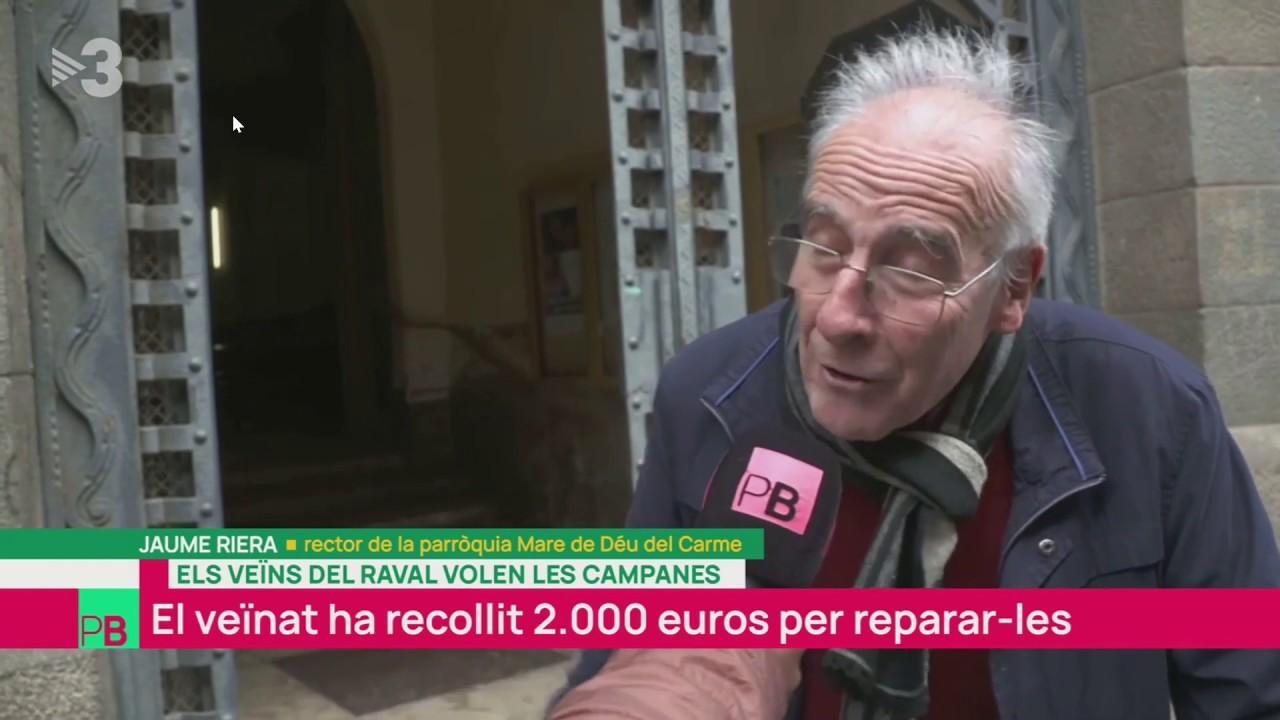 Emissió en directe a TV3 sobre la campanya per restaurar les campanes de la parròquia del Carme