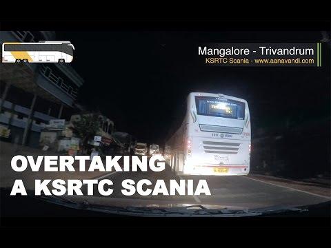Overtaking KSRTC Scania Bus from Mangalore to Thiruvananthapuram