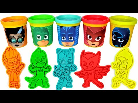 PJ Masks Play Doh Can Heads & Play Doh Molds   PJ Masks Drawing with Surprise Toys for Kids