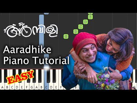 Aaradhike Piano Tutorial Notes & MIDI | Ambili | Malayalam Song