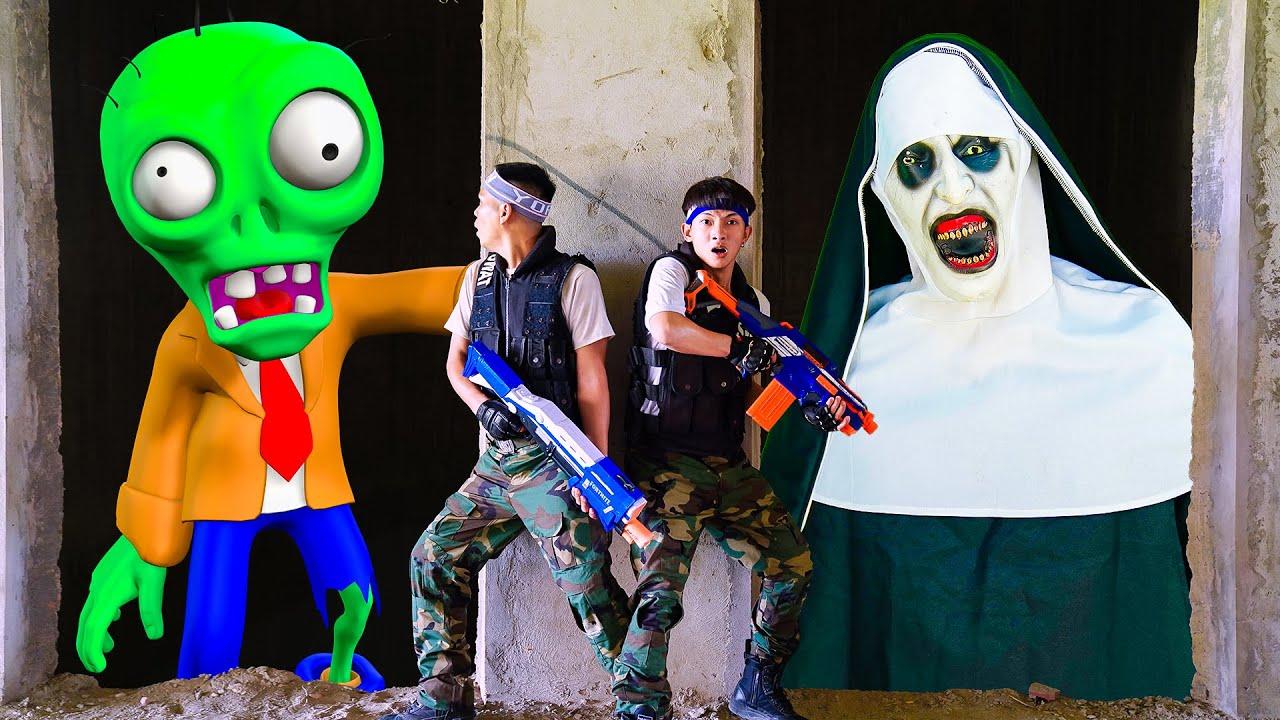 Superheroes Nerf : Couple SEAL X Warriors Nerf Battle Gun Fight Criminal Group Zombie Attack