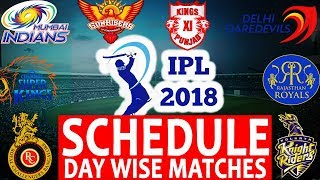 IPL 2018 Schedule &  Fixtures  | Full Match List Day Wise With Stadium & Time