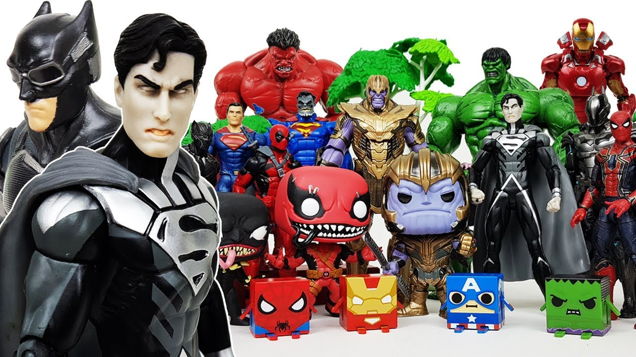 Avengers are in Danger! Superman & Batman Go~! Defeat Thanos! Iron Man, Spider-Man, Hulk Toys!
