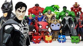 Avengers are in Danger! Superman & Batman Go~! Defeat Thanos! Iron Man, Spider-Man, Hulk Toys!