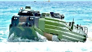 US Military Amphibious Military Vehicles conduct beach landing