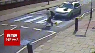 Cctv captures zebra crossing hit and run - bbc news