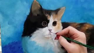 "Живопись маслом. Мастер класс ""Кошка""."
