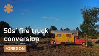 Snowboard pro's '50s fire truck as mobile tiny home