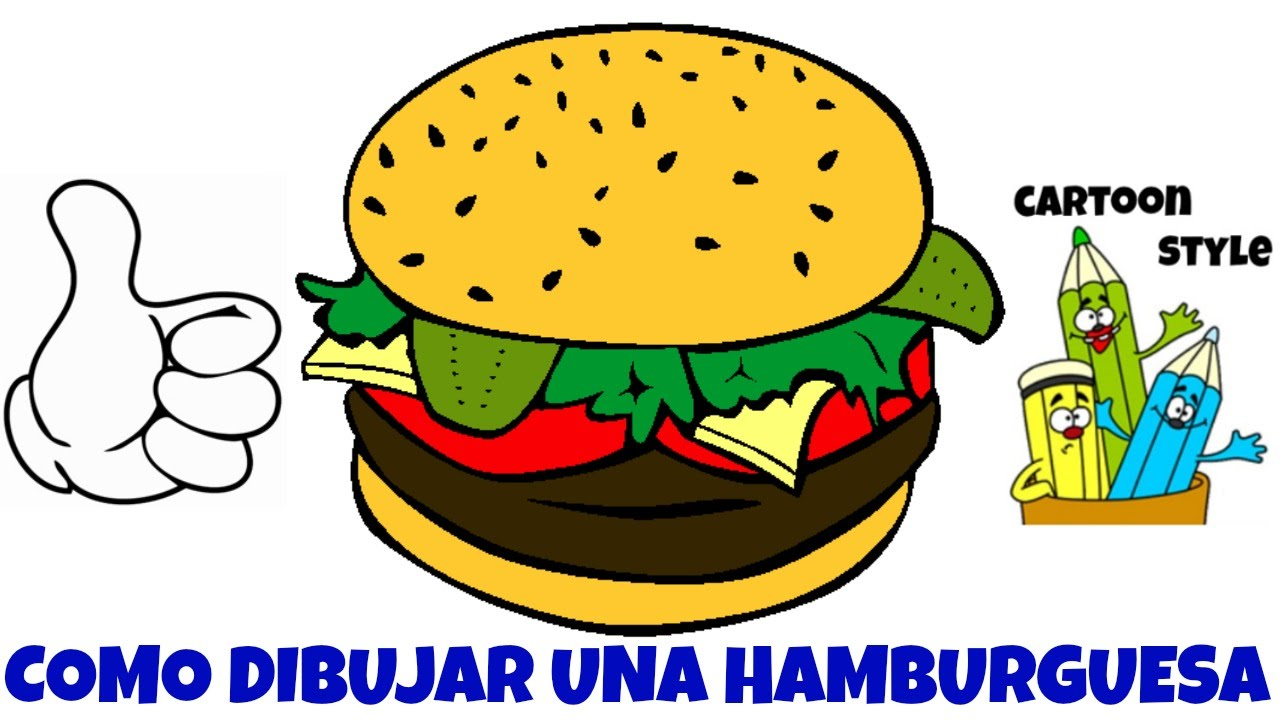 Como Dibujar Una Hamburguesa How To Draw A Hamburger Cartoon