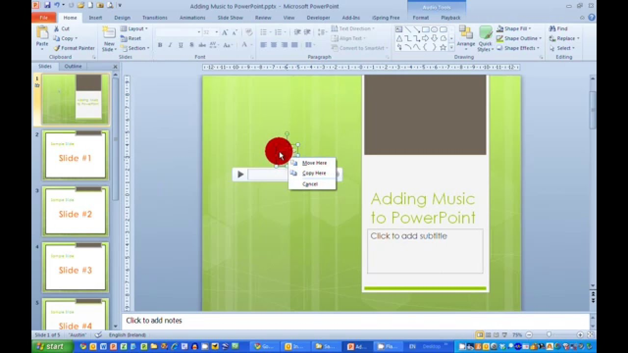 How to add music to a presentation in powerpoint 2010 youtube add music to a presentation in powerpoint 2010 toneelgroepblik Image collections