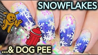 A dog peed on my Snowflake nail art