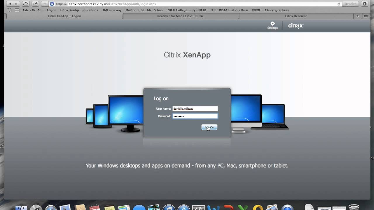 Installing the Citrix Receiver for Mac