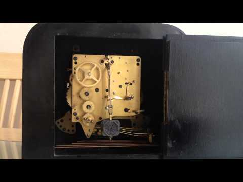 KIENZLE WESTMINSTER CHIME ART DECO WALNUT SQUARE DIAL MANTLE CLOCK