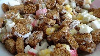 """Супер вкусный салат """"МИНУТКА"""" из  крабовых палочек, кукурузы и горошка)))"""