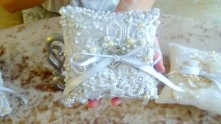 Свадебные аксессуары - подушечки для колец, с вышивкой бисером жемчугом стразами