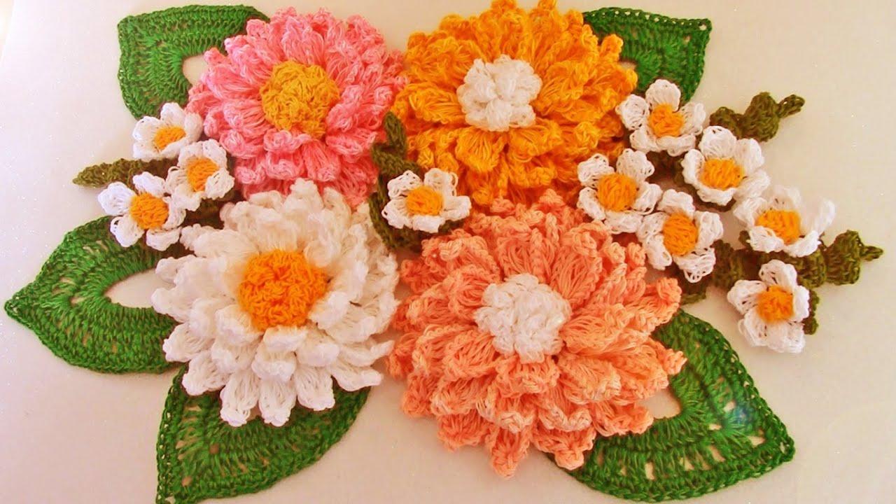 Como tejer f cil y r pido flores con hojas en ramos make - Fotos jarrones con flores ...