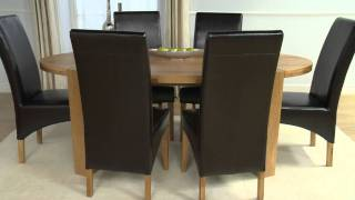 Kentucky Oak Oval Dining Table & Leather Chairs