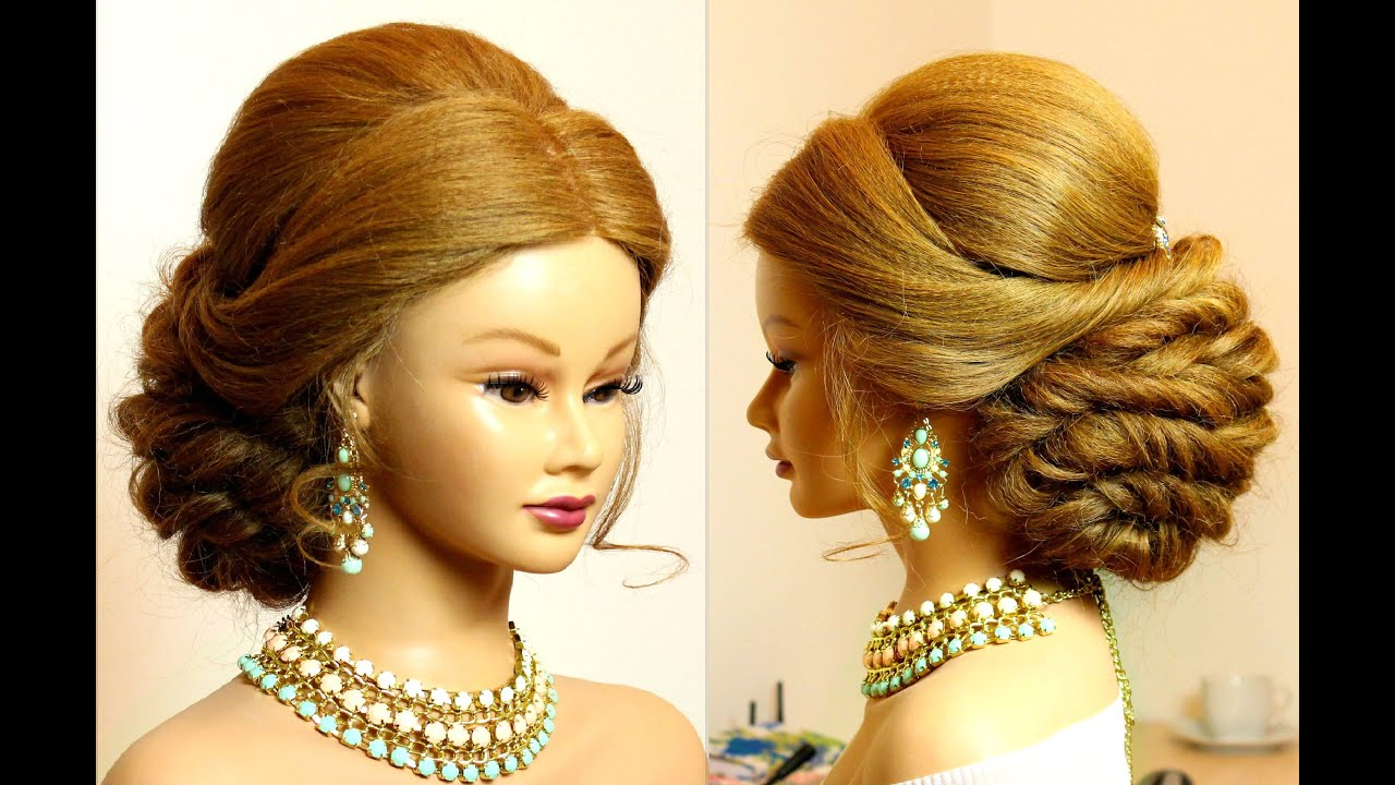 hairstyle for long hair tutorial. bridal updo. - youtube