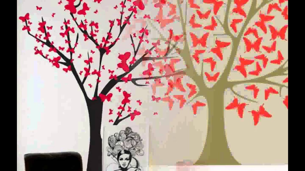 Butterfly Tree Wall Decals Nice Decoration  sc 1 st  YouTube & Butterfly Tree Wall Decals Nice Decoration - YouTube