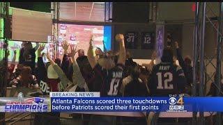 Patriots Fans Go Crazy At CBS Scene After Super Bowl