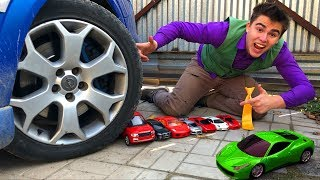 Mr. Joe on Opel Vectra OPC VS Red Man with A LOT OF Toy Cars Lamborghini under Wheels for Kids