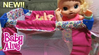 BABY ALIVE CRIB Unboxing:Doll Play N Relax 2 in 1 Crib with Sweet Tears + Elsa + Heather