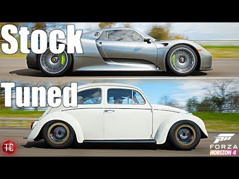 Forza Horizon 4: Stock vs Tuned! Porsche 918 Spyder vs Volkswagen Beetle!