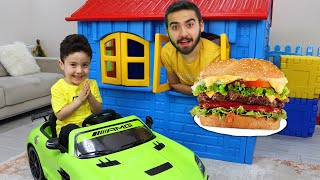Yusuf and Uncle pretend play with Hamburger