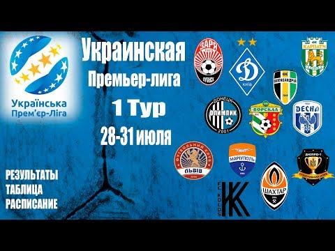 Украинская Премьер-лига 1 Тур УПЛ 2019/2020 Таблица,Результаты+расписание Обзор