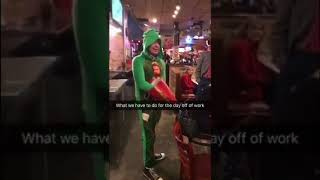 Dork wears Elf onesie in public