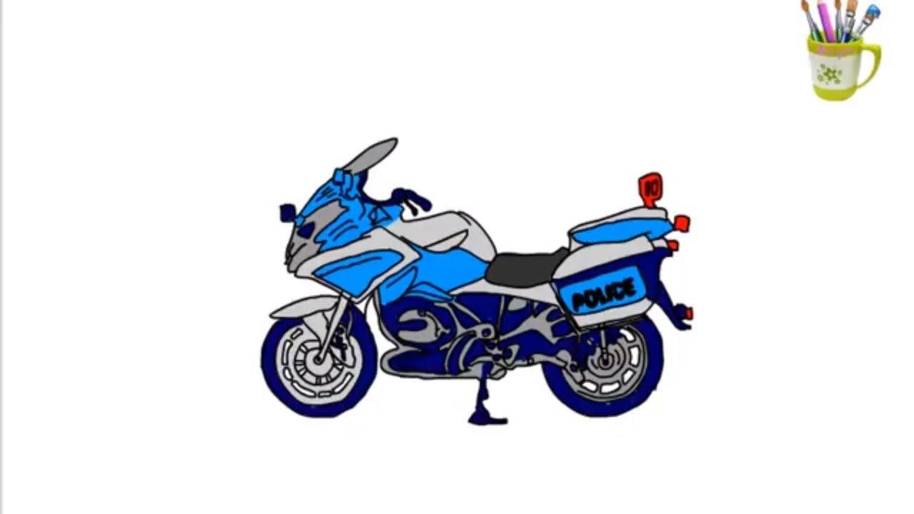 xe cảnh sát - bé tập tô màu xe moto cảnh sát