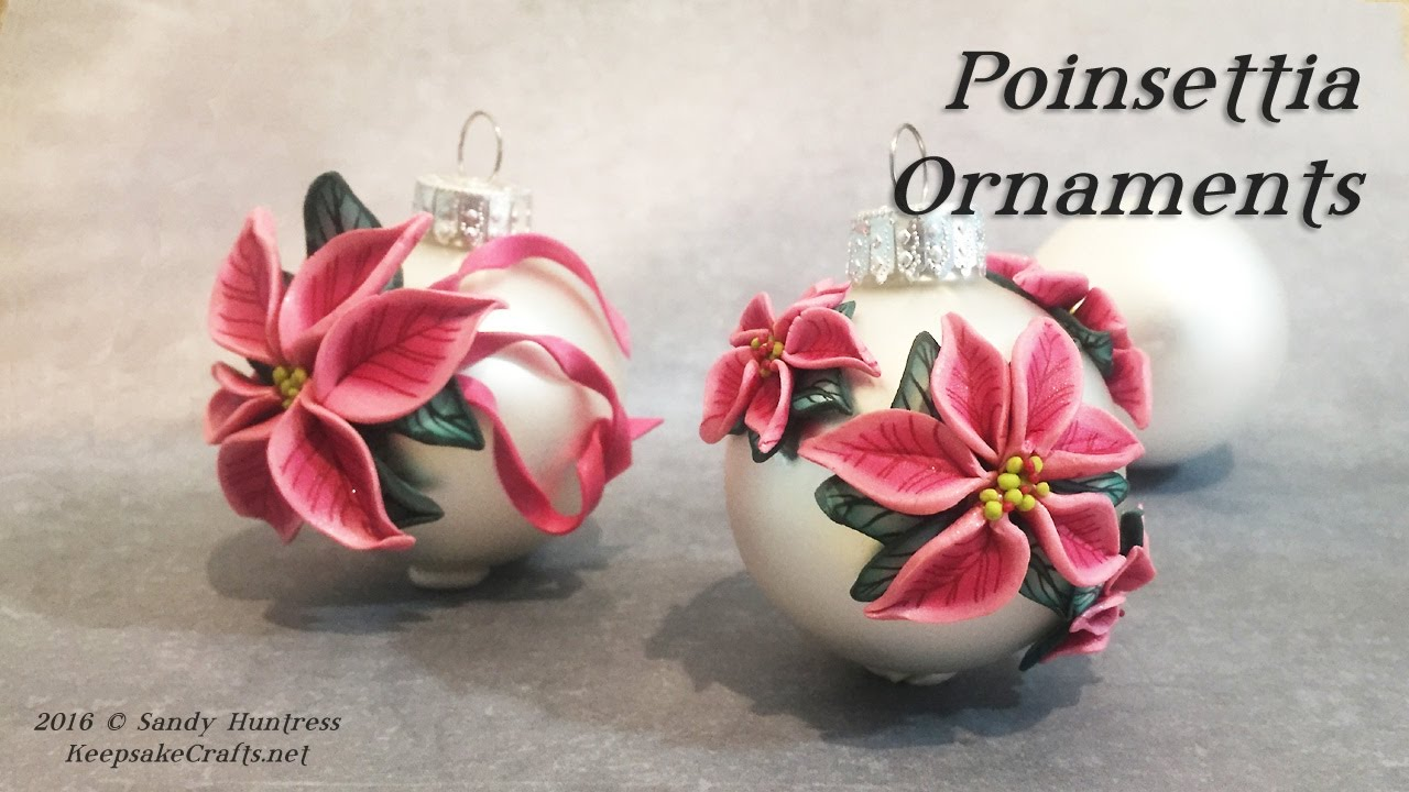 Poinsettia Ornaments-Polymer Clay Christmas Ornaments Series-2016 ...