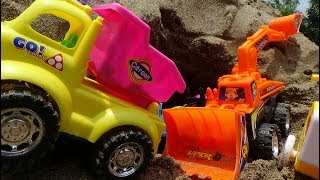 Kid Video - Bulldozer, truck toys, animals in sunny day