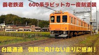 養老鉄道 600系ラビットカー復刻塗装運用 台風の播磨ー下深谷