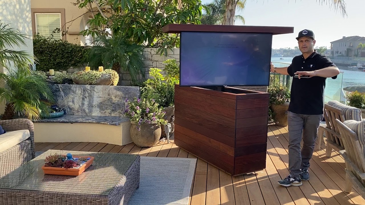 Must Have Weather Ready Outdoor Hidden Tv Lift Cabinet Youtube
