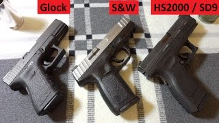S&W SD9VE, Glock 19, XD9 3-way Review