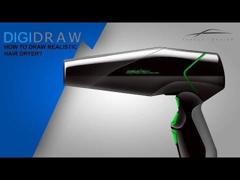 Photoshop tutorial: Industrialdesign/Produktdesign: How to draw a Hair dryer? Quicksektch