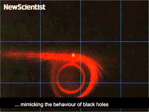 Artificial black hole mimics curved spacetime