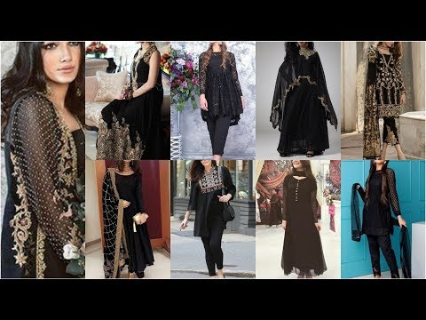 Very Atrective & Stunning Black Color Dresses With Best Color Contrast & Embroidery
