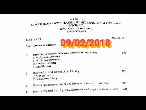 ELECTRICIAN PAPER- III ENGINEERING DRAWING 09/02/2018