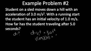 Acceleration Calculations - Iniтial Velocity