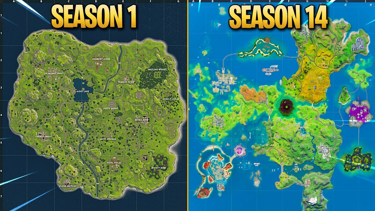 Evolution of Fortnite Map (Chapter 1 Season 1 - Chapter 2 Season 4)