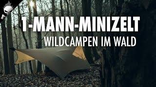 Biwak im Mini-Ein-Mann-Zelt & Tarp – Wildcampen im Wald, Saltimbocca aus der Eisenpfanne, Lagerfeuer