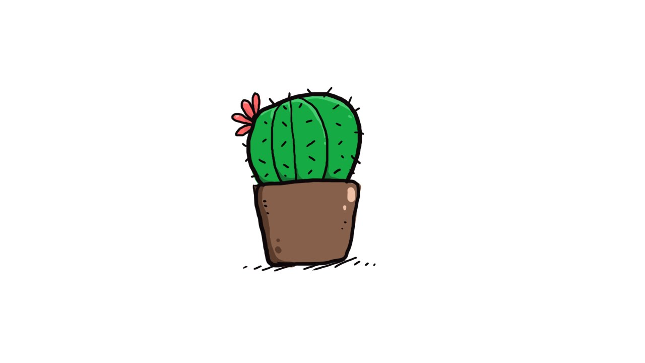 LIFE #04 How to draw a cactus in a pot Doodle art